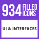 934 UI & Interfaces Filled Blue & Black Icons - GraphicRiver Item for Sale