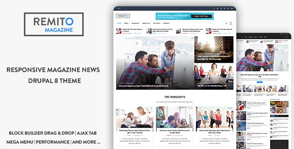 Remito - Responsive Magazine News Drupal 8.6 Theme - News / Editorial Blog / Magazine