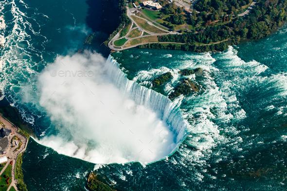 Fantastic aerial views of the Niagara Falls, Ontario, Canada - Stock Photo - Images