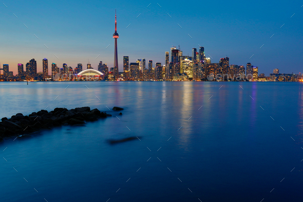 Night view of downtown Toronto, Ontario, Canada - Stock Photo - Images