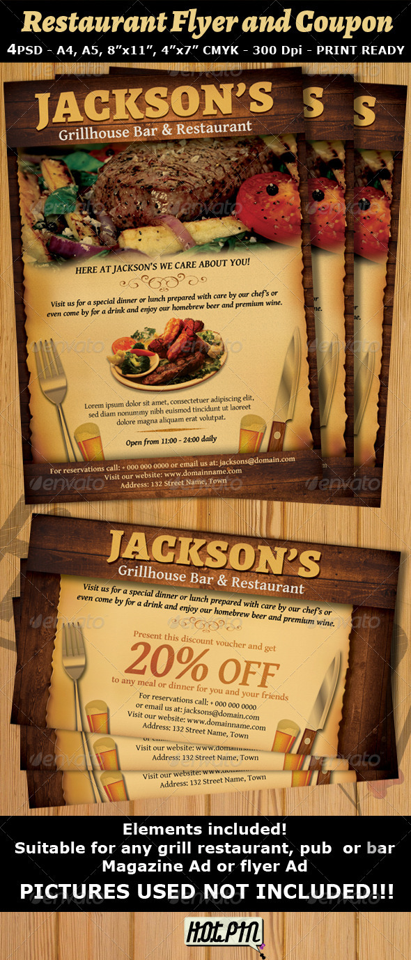 Restaurant-Bar Magazine Ad or Flyer Template V2 - Restaurant Flyers