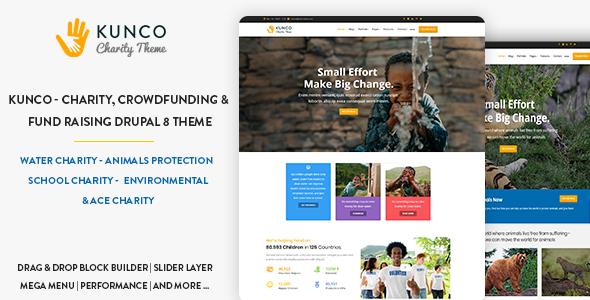Kunco - Charity, Crowdfunding & Fund Raising Drupal 8.6 Theme