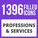 1396 Professions & Services Filled Blue & Black Icons - GraphicRiver Item for Sale