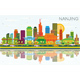 Nanjing China City Skyline with Color Buildings - GraphicRiver Item for Sale