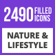 2490 Nature & Lifestyle Filled Blue & Black Icons - GraphicRiver Item for Sale
