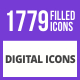 1779 Digital Filled Blue & Black Icons - GraphicRiver Item for Sale