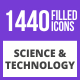 1440 Science & Technology Filled Blue & Black Icons - GraphicRiver Item for Sale