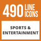 490 Sports & Entertainment Line Green & Black Icons - GraphicRiver Item for Sale