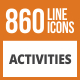 860 Activities Line Green & Black Icons - GraphicRiver Item for Sale