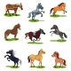 Flat Vector Set of Horses in Various Poses - GraphicRiver Item for Sale