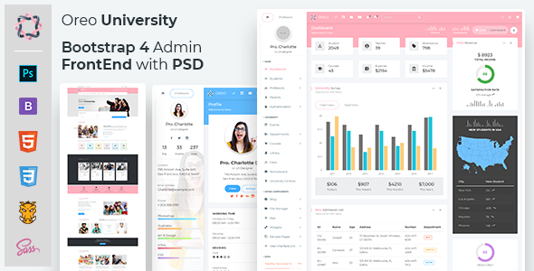 Oreo University - Bootstrap 4 Admin + Front End with PSD - Admin Templates Site Templates