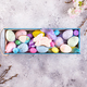 easter colorful eggs painted in bright colors and glazed cookie bunny with straw nest in wooden box - PhotoDune Item for Sale