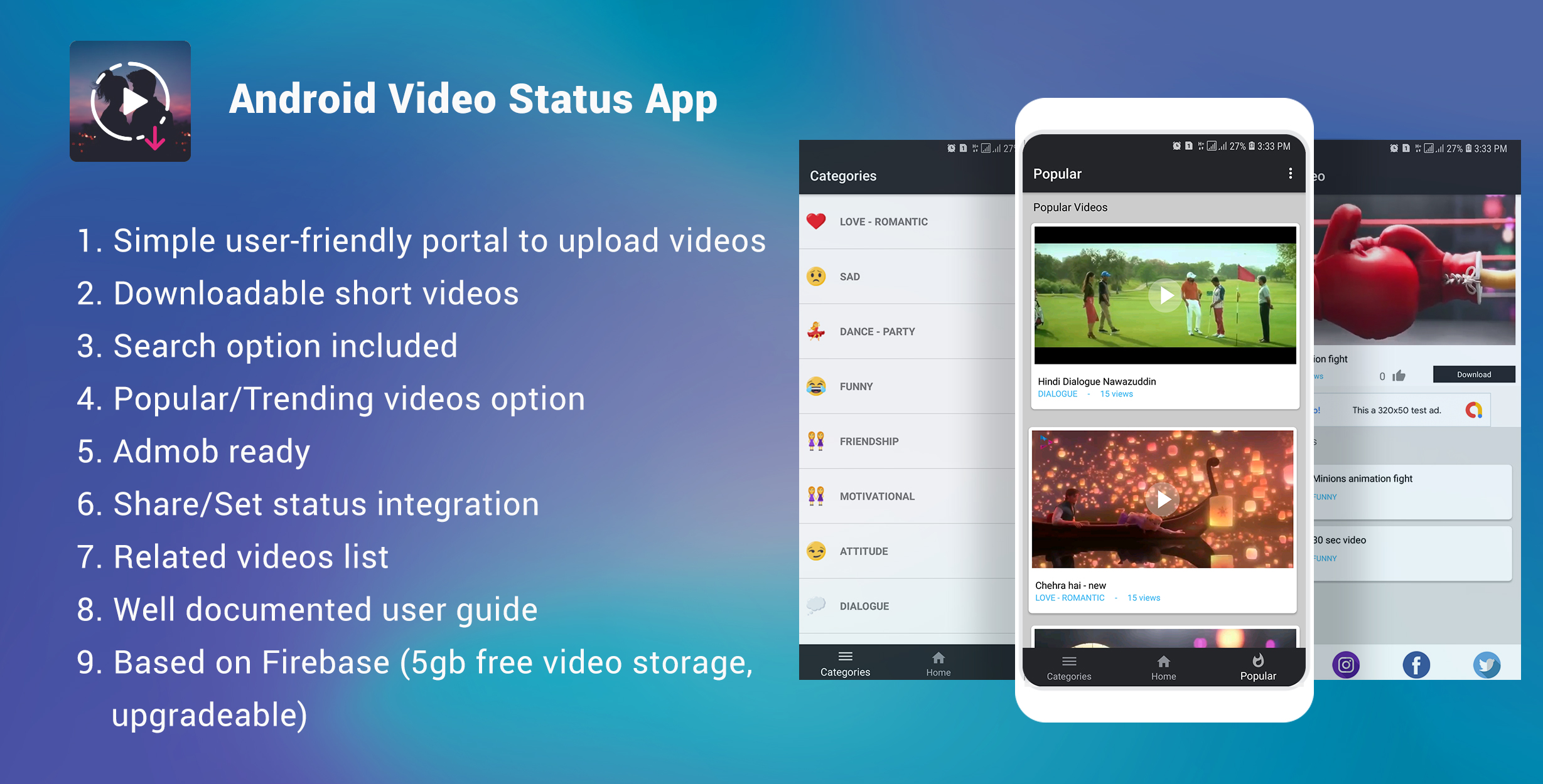 Android Video Status app + Admob ready