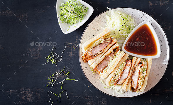Katsu Sando - food trend japanese sandwich - Stock Photo - Images