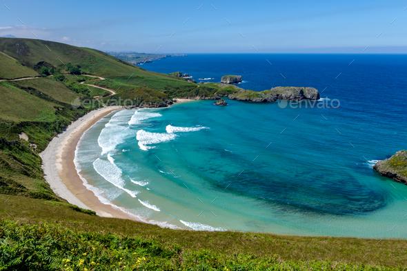 Beach of Torimbia near to Llanes village - Stock Photo - Images