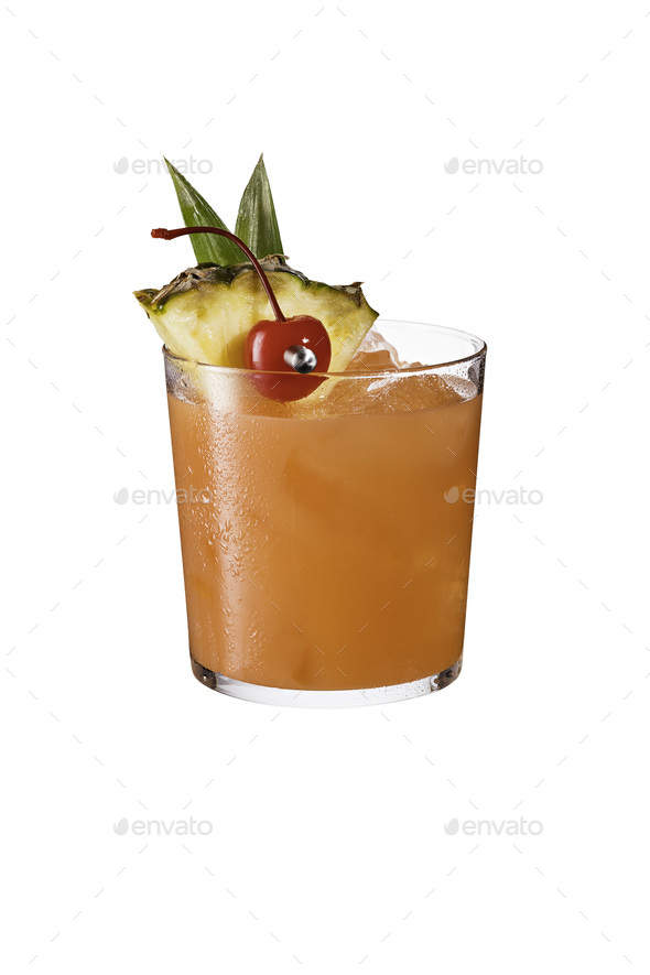 Refreshing Rum Mai Tai Cocktail on White - Stock Photo - Images
