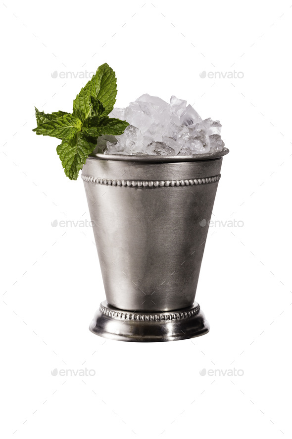 Refreshing Bourbon Mint Julep Cocktail on White - Stock Photo - Images