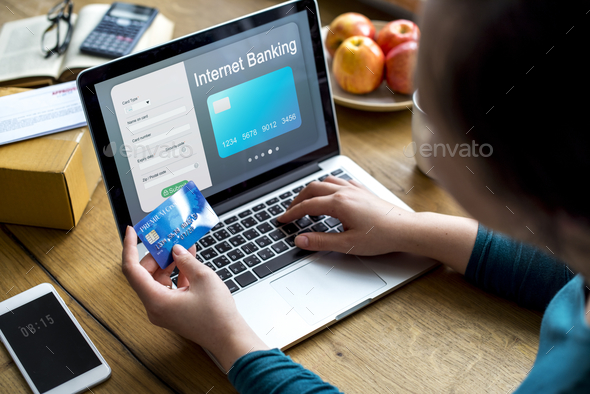 People purchsing goods e-commerce online shopping - Stock Photo - Images