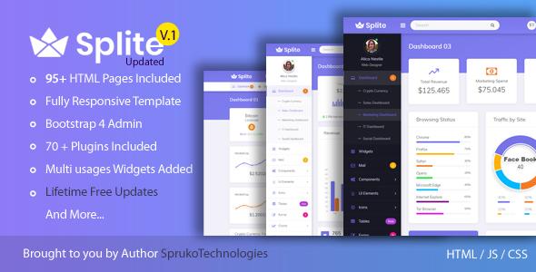 Splite – Responsive Bootstrap4 Admin Dashboard Template by SprukoSoft