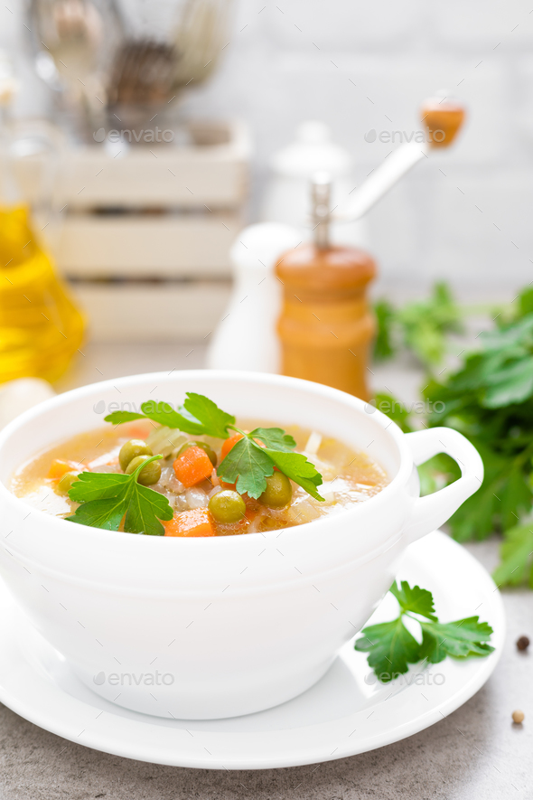 Summer light vegetarian vegetable soup - Stock Photo - Images