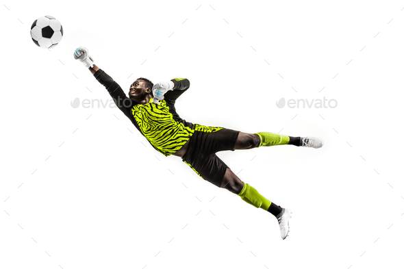 One soccer player goalkeeper man catching ball - Stock Photo - Images