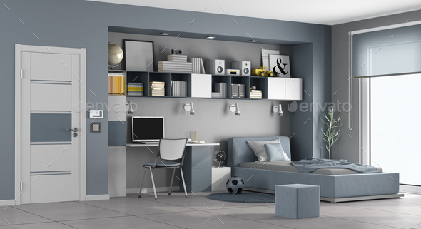 Blue and gray teen room - Stock Photo - Images