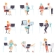 Businesswomen Working in Office Set - GraphicRiver Item for Sale