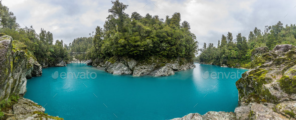 Blue water and rocks of the Hokitika Gorge Scenic Reserve, South - Stock Photo - Images