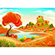 Landscape with Pond Trees and Hills - GraphicRiver Item for Sale