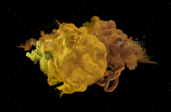 Acrylic colors in water. Ink yellow blot. Abstract background. - Stock Photo - Images