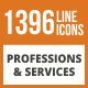1396 Professions & Services Line Green & Black Icons - GraphicRiver Item for Sale