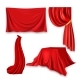 Red Silk Cloth Set Vector Fabric Cloth Waving - GraphicRiver Item for Sale