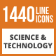 1440 Science & Technology Line Green & Black Icons - GraphicRiver Item for Sale