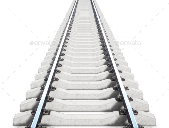Single rail isolted on white background. 3d rendering - Stock Photo - Images