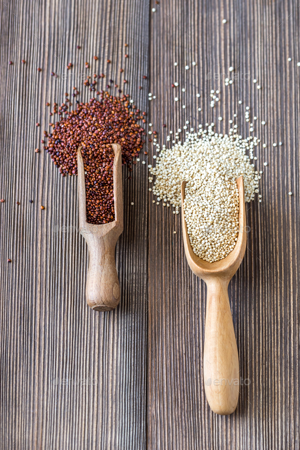 Scoops of white and red quinoa - Stock Photo - Images