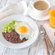 Portion of red quinoa with fried egg and celery - PhotoDune Item for Sale