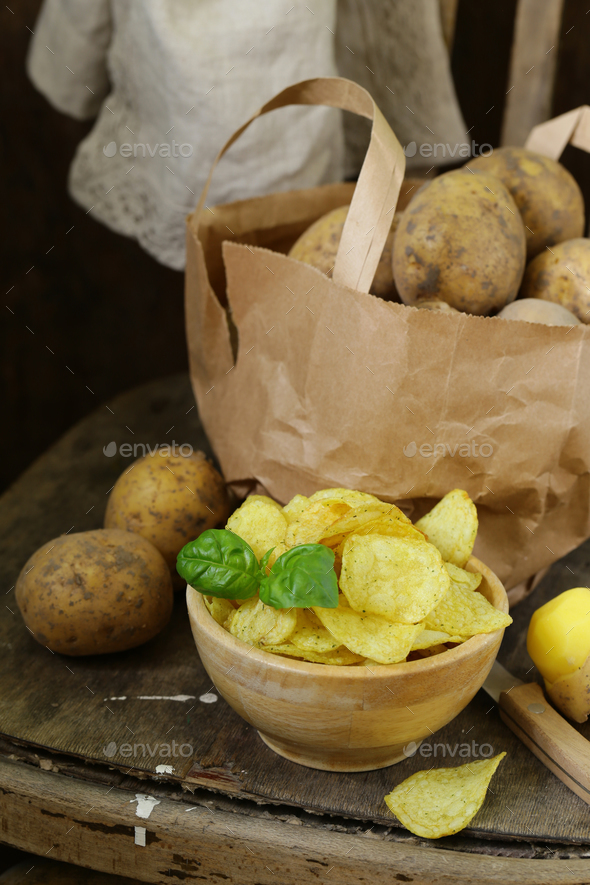 Natural Potato Chips - Stock Photo - Images