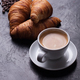 Breakfast with freshly baked croissants and cup of coffee - PhotoDune Item for Sale