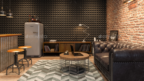 Interior of modern man living room with bar 3D rendering - Stock Photo - Images