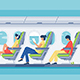 Man and Woman Passenger with Headphones and Book - GraphicRiver Item for Sale