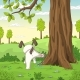 Young Dog Is Peeing on a Tree - GraphicRiver Item for Sale