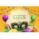 Party Hat and Masquerade Mask at Mardi Gras Banner - GraphicRiver Item for Sale