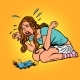 Broken Phone Woman Crying Hysterically - GraphicRiver Item for Sale
