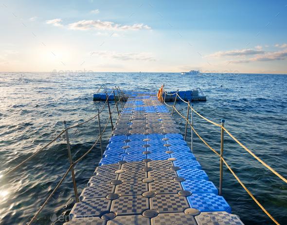 Pontoon in sea - Stock Photo - Images