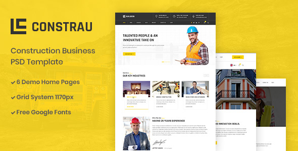 |Constrau - Construction Business PSD Template