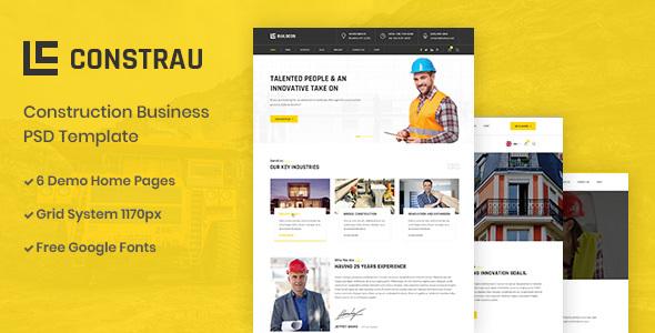 |Constrau - Construction Business PSD Template