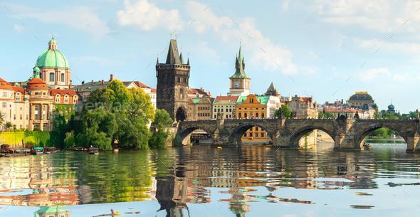 Famous Prague bridge - Stock Photo - Images