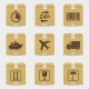Cardboard Box Icons with Logistic Signs Isolated - GraphicRiver Item for Sale