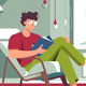 Flat Man with Glasses and Home Clothes Reading - GraphicRiver Item for Sale