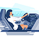Flat View From the Car with Businesswoman Talking - GraphicRiver Item for Sale